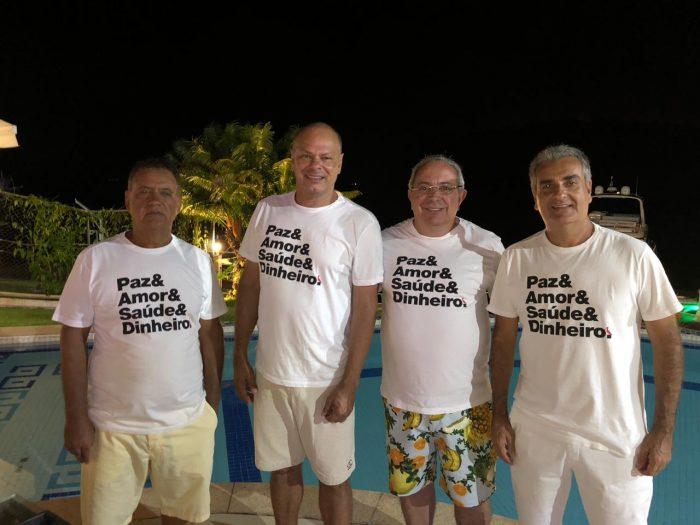 Alcedir Nunes, Cláudio Ferreira da Silva, Rogério Adum Araujo e Ricardo Fortuna na virada do ano em Angra dos Reis