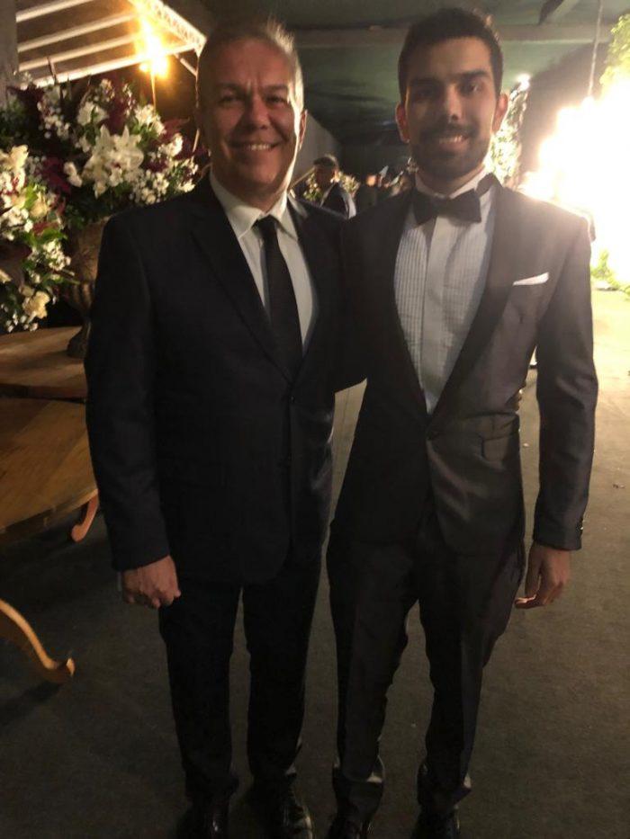 Eduardo dos Santos e o filho Eduardo dos Santos Júnior, formando em medicina pela UFJF, na mega festa no Expominas