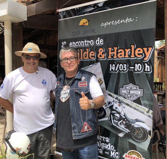Ricardo Kamil e Edinho Coimbra, antes da quarentena, no emblemático encontro de Santa Matilde e Harley Davidson