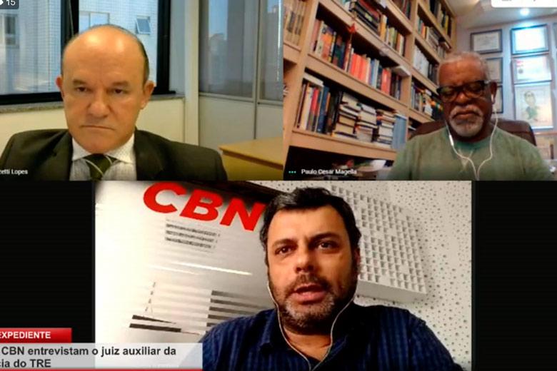 Imagem: Tribuna e CBN entrevistam o juiz auxiliar da presidência do TRE