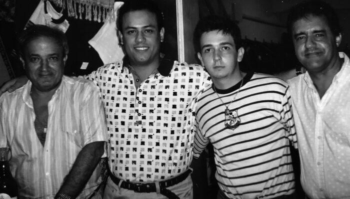 O 'sheik' Ibrahim El Kouri com Caíque Leal Teixeira, Kalil El Kouri e Lucas Vieira em 1997