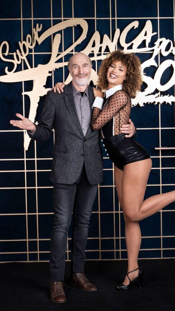 """O ator Odilon Wagner e Yasmin Marinho (juiz-forana do 'casting' de bailarinas do """"Domingão do Faustão"""") se apresentam, logo mais, na Dança dos Famosos"""